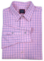 UNTUCKIT Mens Pink with Blue White Check Long Sleeve Button Down Size Large EUC