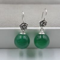 Solid 925 Sterling Silver Dangle Earrings Natural Green Agate Earrings 30mm H
