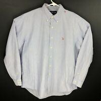 Ralph Lauren Mens Yarmouth Chambray Blue Long Sleeve Button Down Shirt 16.5