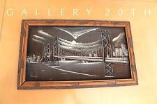 SUPERB! MID CENTURY MODERN NEW YORK CITYSCAPE PAINTING! 50S RAYMOR ART EAMES VTG