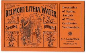 Belmont Lithia Water, Historical Booklet, Talleysville, Virginia, early 1900s