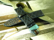 GENUINE ITALY MADE VALENTINO 22MM BLUE REAL CROCODILE LEATHER MENS WATCH STRAP