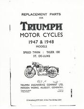 Triumph Parts Manual Book 1947 & 1948 Speed Twin 5T, Tiger 100 T100 & 3T De-Luxe