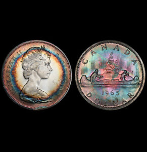 MS63 1965 $1 Canada Silver Voyageur Dollar, PCGS Secure- Rainbow Target Toned