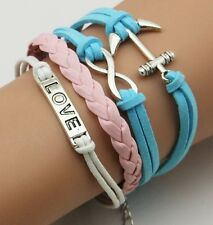 Infinite Design Love Anchor Fashion Leather Wrap Charms Bracelet Bangle