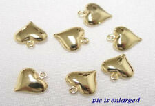 10 GOLD PLATED PUFFY HEART CHARM BEADS