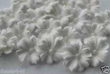 WHITE  sugar paste edible flower cupcake topper with white sugar pearl center