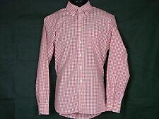 Hackett London Mens Button Down Cotton Shirt Sz Small Red Checks Flip Contrast