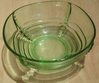"""Vintage Large Green Glass Large 8.5"""" Bowl Art Deco Fruit Serving Bowl"""