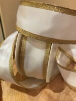 White and Gold Ribbon, Wire Edged, Ideal For Weddings & Decoration 38mm Wide