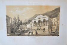 Lithographie XIXème - Cauterets - Vue du Grand Établissement - Deroy - Arnout