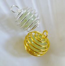 Wrapped Silver Plated Or Gold Plated Caged GREEN JADE Bead PENDANT