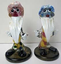 Pair Of Signed Murano Art Glass Italian Dwarf Clowns Very Unusual