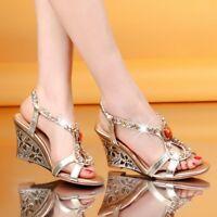 Women Bling Rhinestone Wedge High Heels Sandals Peep Toe Summer Wedding Shoes Sz