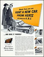 1948 Hertz Car Rental drive-ur-self system family travel art print ad adl87