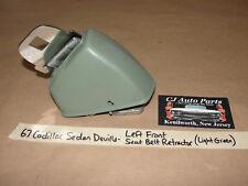 OEM 67 Cadillac DeVille LEFT FRONT SEAT BELT RETRACTOR & TRIM COVER LT GREEN