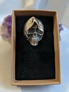 925 Silver Men's/Unisex Silver Skull Ring UK Size V