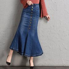 High Waisted Stretch Denim Maxi Long Skirt Button Front Flare Fishtail Hem Jean