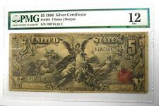 1896 $5 Silver Certificate FR-268 Note Bill - Certified PMG 12 (Fine) - Rare!