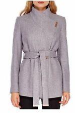 Ted Baker Light Grey Keyla Wool & Cashmere Blend Short Wrap Coat size 1/UK8/US4