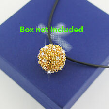 18k Gold GF Solid Wire Ball Pendant Leather Necklace With Swarovski Crystals