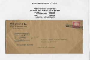 1929 Registered Return Receipt Cover from Chicago to Belvidere, IL (Scott #567)