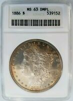 1886 Silver Morgan Dollar ANACS MS 63 DPL Deep Mirrors Proof Like PL DMPL Coin
