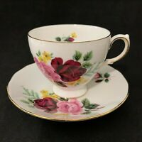 Queen Anne Bone China Tea Cup & Saucer Floral Rose England Ridgeway Potteries