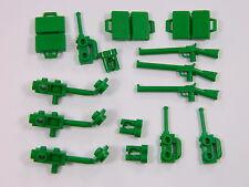 LEGO accessories for minifigures x15 GREEN rifle suitcase binoculars radio