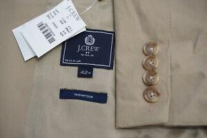 J.Crew Thompson Khaki Brown 100% Cotton 2 Pc Suit Jacket Pants Sz 42R BRAND NEW