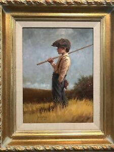 """JIM DALY  ORIGINAL OIL 16 X 12  """"GONE FISHING""""  1992   GREAT COND!!  NICE FRAME!"""
