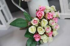 Bouquet Posy of 24 Artificial Silk Rose Buds Pink/Ivory Home Wedding Mothers Day