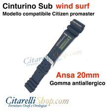 CINTURINO in GOMMA compatibile CITIZEN PROMASTER misura 20mm nero WINDVELOCITY