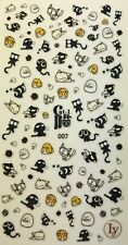 Nail Art 3D Decal Stickers Cute Black & White Cats LY007