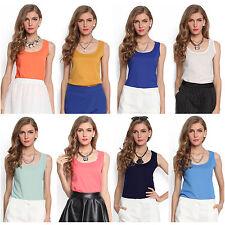 Ärmellose taillenlange Damenblusen, - tops & -shirts aus Chiffon