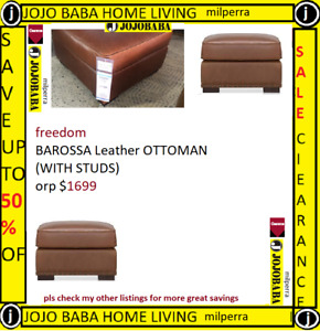 freedom BAROSSA Leather OTTOMAN (WITH STUDS) orp $1699