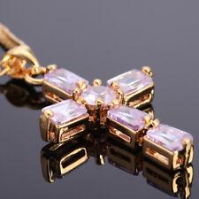 Fashion Jewelry Cross Cut Tanzanite Yellow Gold Gp Pendant Necklace For Dress