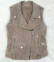 Blank NYC Moto Vest Size Small Leather Suede Asymmetrical Zip Tan