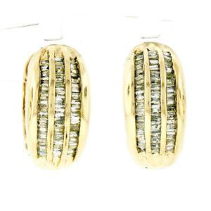 14K Yellow Gold 1.10ctw 3 Row Channel Baguette Cut Diamond Hoop Huggie Earrings
