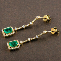 Vintage 2.50 CT Colombian Emerald & Diamond Dangle Earrings 14K Yellow Gold Over