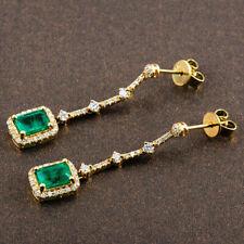 Vintage 2.50 CT Colombian Emerald & Diamond Dangle Earrings 14K Yellow Gold Over