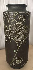 "Antique Asian Chinese? Bronze 12"" Large Old Vase Carved Bird Flowers China Art"