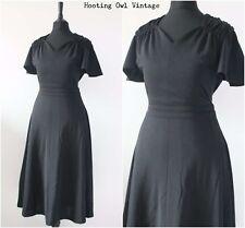 Vintage 1970s Black Dress Elegant Angel Sleeve Evening Midi Tea Boho Dress 10 12