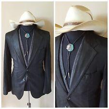 Remy Thin Soft Leather Black Slim Modern Vintage Western Blazer Jacket36 38 48Eu