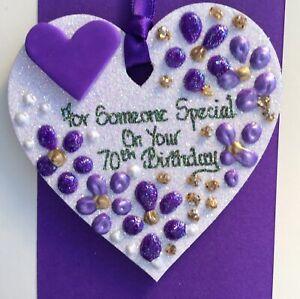 70th Birthday Keepsake Heart On A Greetings Card Personalised