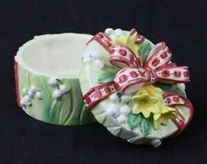 "Round Fitz and Floyd Green Floral Covered Gift Box 3"" Tall"