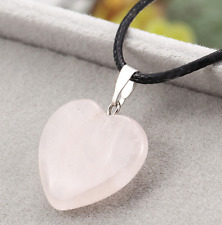 UK Beautiful Rose Quartz Love Heart Pendant Black Cord Necklace. Reiki Healing