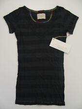 NWT - Loomstate 100% Organic Cotton T-Shirt - Black Stripes V-Neck - XS