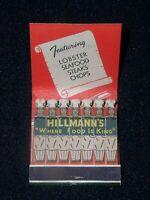 Hillmann's Restaurant Cocktail Lounge, Hartsdale,NY vtg Full Feature Matchbook