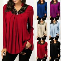 Women's V-Neck Plus Size Lace Button Long Sleeves Blouse Pleate Tunic Shirt Tops